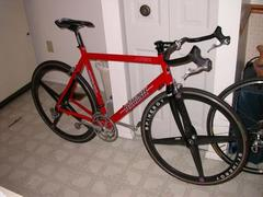 Scattante with old Spinergy Rev-X wheels and bullhorn bars